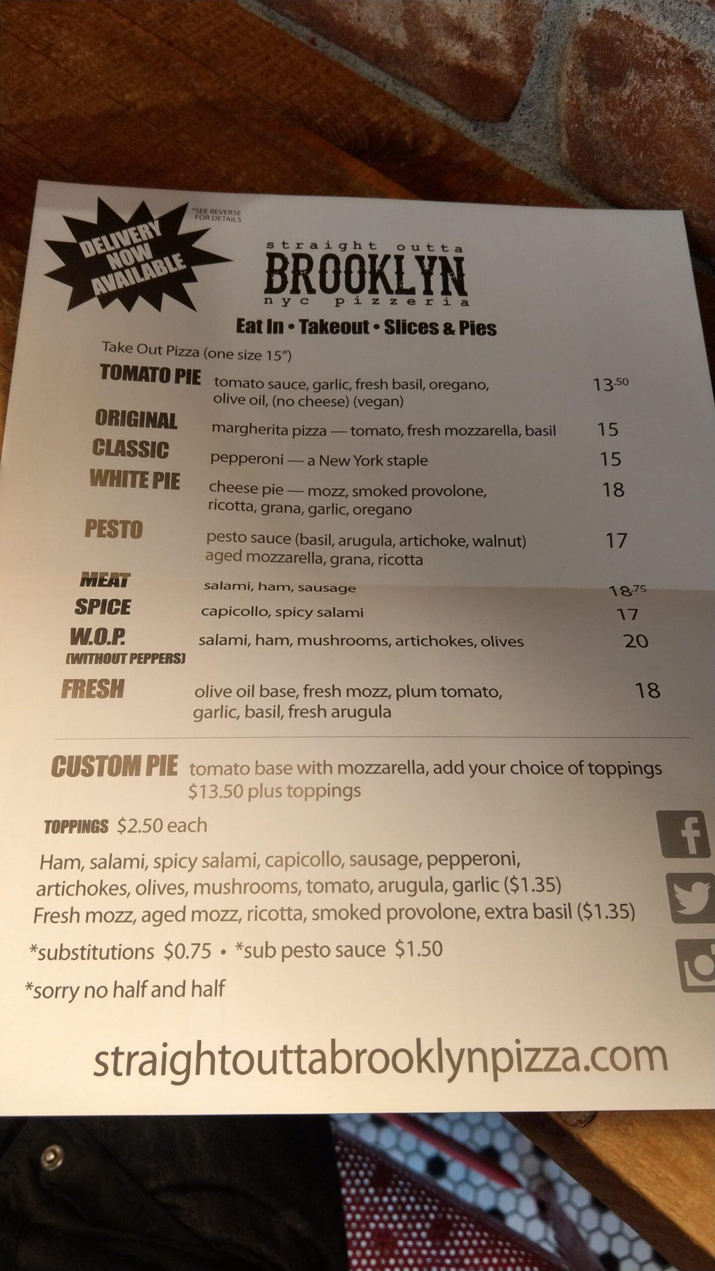 Straight Outta Brooklyn NYC Pizzeriaのメニュー